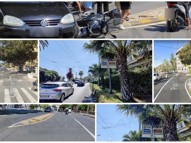 Sanremo: incidente in largo Nuvoloni diventa un caso, cartello di direzione obbligatoria nascosto da una palma (Foto)