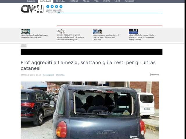 Prof aggrediti a Lamezia, scattano gli arresti per gli ultras catanesi