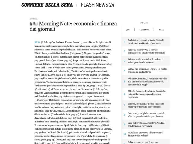 ### Morning Note: economia e finanza dai giornali