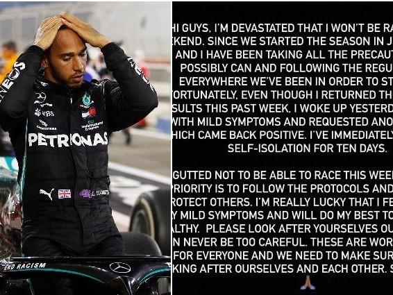 """Lewis Hamilton dopo la positività al Covid: """"Mi dispiace non correre in Bahrain. State attenti"""""""