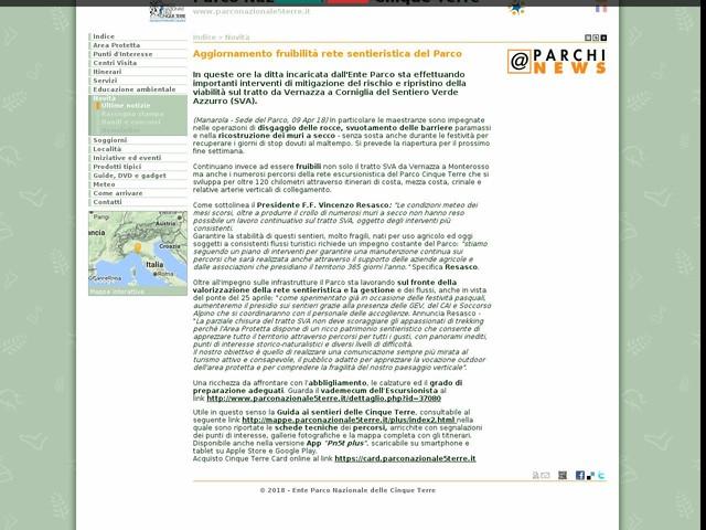 PN Cinque Terre - Aggiornamento fruibilità rete sentieristica del Parco