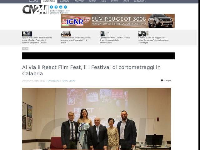 Al via il React Film Fest, il I Festival di cortometraggi in Calabria
