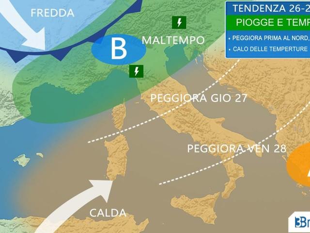 Tendenza meteo 26-27 Aprile - MALTEMPO al Nord, rovesci e temporali sparsi al Centrosud