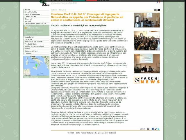 PR Nebrodi - Concluso Ma.T.E.R: Dal 3° Convegno di Ingegneria Naturalistica un appello per l'adozione di politiche ed azioni di adattamento ai cambiamenti climatici