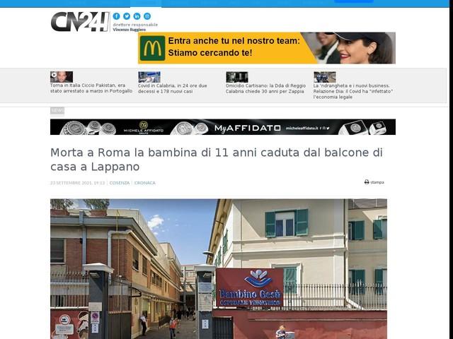 Morta a Roma la bambina di 11 anni caduta dal balcone di casa a Lappano