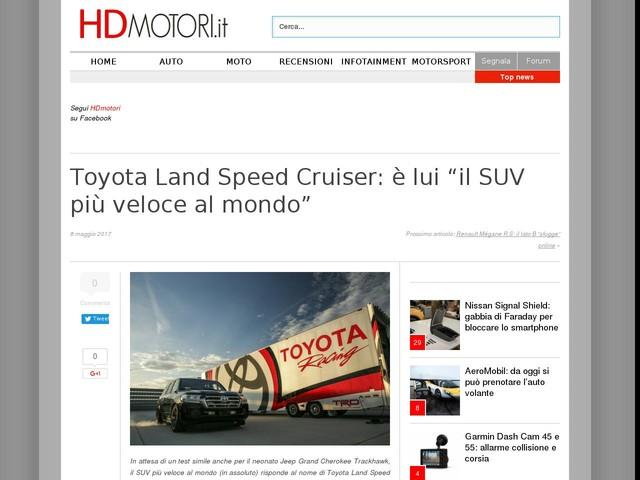 """Toyota Land Speed Cruiser: è lui """"il SUV più veloce al mondo"""""""