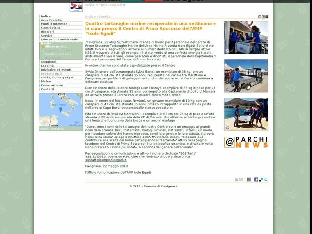 """AMP Isole Egadi - Quattro tartarughe marine recuperate in una settimana e in cura presso il Centro di Primo Soccorso dell'AMP """"Isole Egadi"""""""