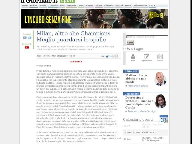 Milan, altro che Champions Meglio guardarsi le spalle