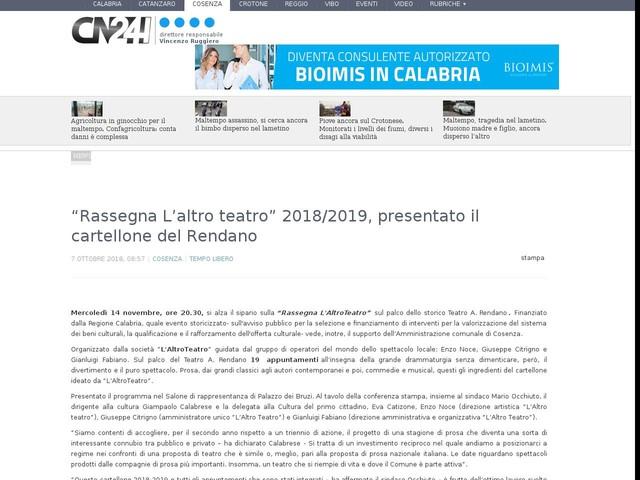 """""""Rassegna L'altro teatro"""" 2018/2019, presentato il cartellone del Rendano"""