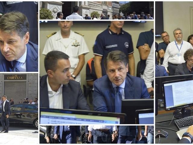 """Genova: il Premier """"5 milioni di euro per i primi interventi e revoca della concessione ad Autostrade per l'Italia"""" (Foto e Video)"""