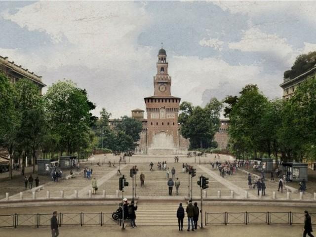 La nuova vita di piazza Castello a Milano: filari di alberi e granito bianco per il progetto di restyling