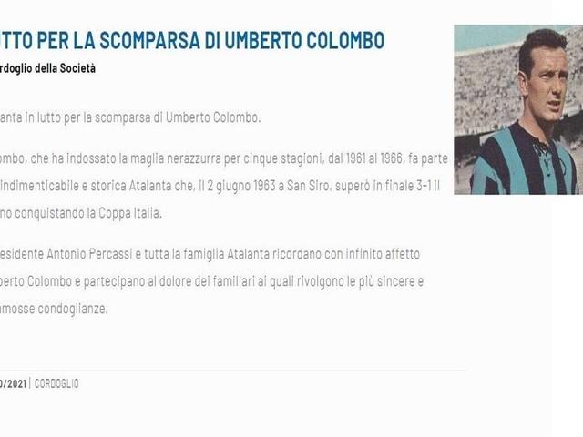 L'Atalanta piange Umberto Colombo, eroe della Coppa Italia '63