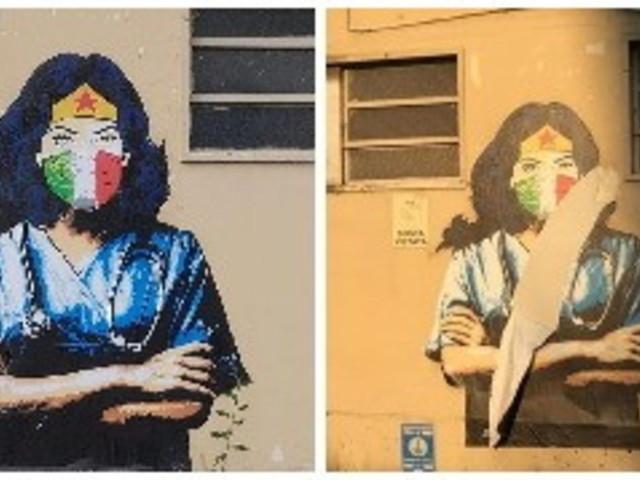 Codogno, sfregiato il murale dell'infermiera Wonder Woman