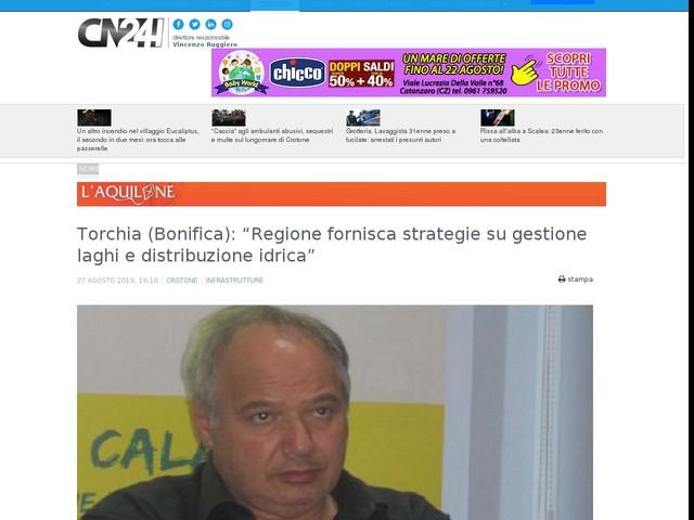 """Torchia (Bonifica): """"Regione fornisca strategie su gestione laghi e distribuzione idrica"""""""