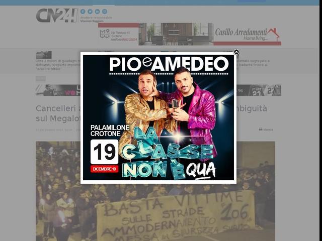 """Cancelleri a Sibari, Basta Vittime 106: """"ancora ambiguità sul Megalotto 3"""""""