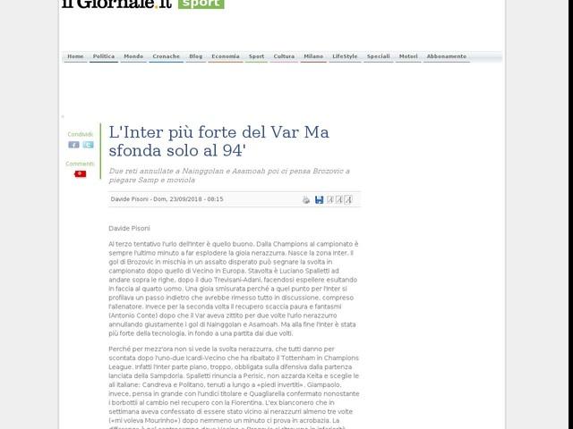 L'Inter più forte del Var Ma sfonda solo al 94'