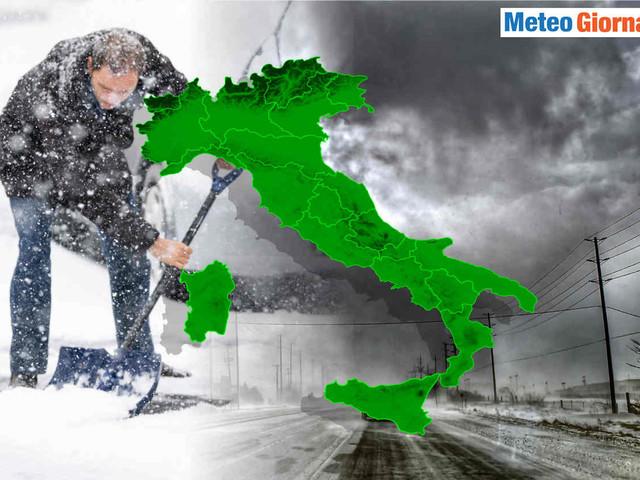 Freddo invernale, meteo pessimo con ciclone mediterraneo. Nevicate