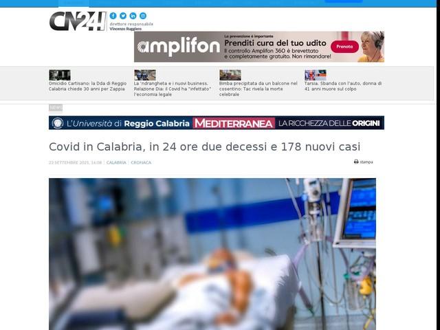 Covid in Calabria, in 24 ore due decessi e 178 nuovi casi