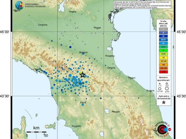 Paura nella notte per il terremoto in Mugello, ma nessun ferito