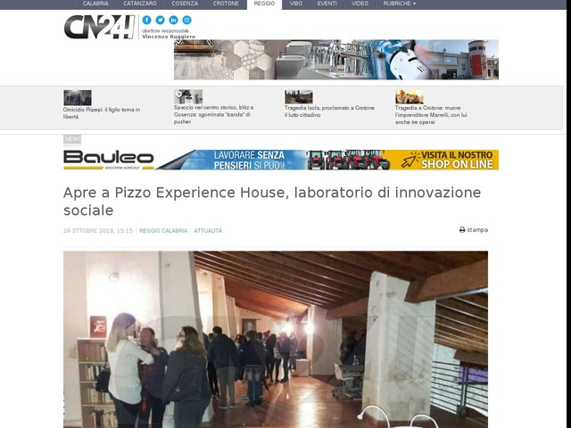 Apre a Pizzo Experience House, laboratorio di innovazione sociale