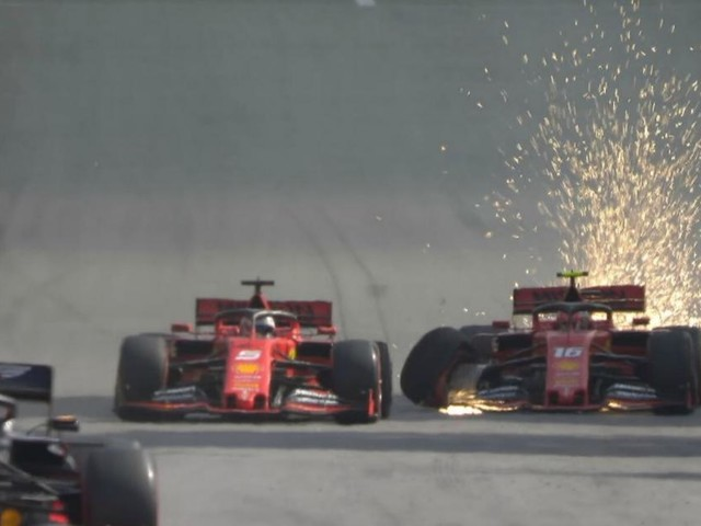 Formula 1: incidente tra le due Ferrari di Vettel e Leclerc al Gp del Brasile