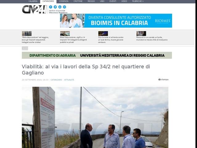 Viabilità: al via i lavori della Sp 34/2 nel quartiere di Gagliano