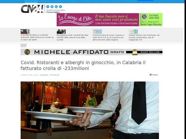Covid. Ristoranti e alberghi in ginocchio, in Calabria il fatturato crolla di -233milioni