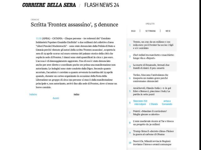 Scritta 'Frontex assassino', 5 denunce
