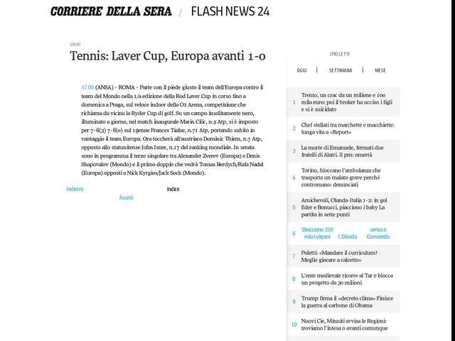 Tennis: Laver Cup, Europa avanti 1-0