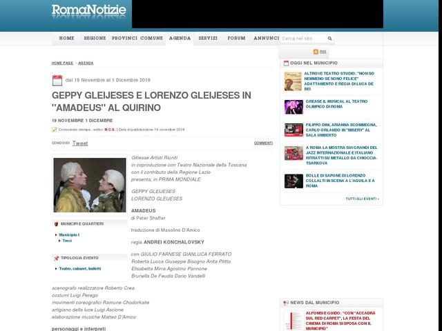 "Geppy Gleijeses e Lorenzo Gleijeses in ""Amadeus"" al Quirino"