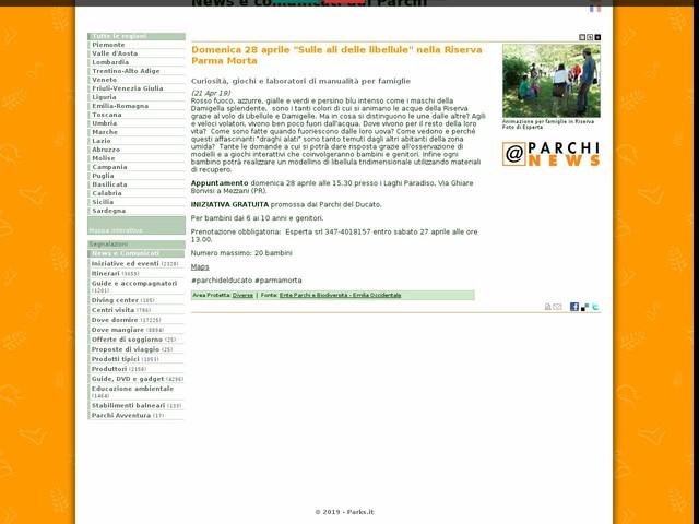 """Ente Parchi e Biodiversità - Emilia Occidentale - Domenica 28 aprile """"Sulle ali delle libellule"""" nella Riserva Parma Morta"""