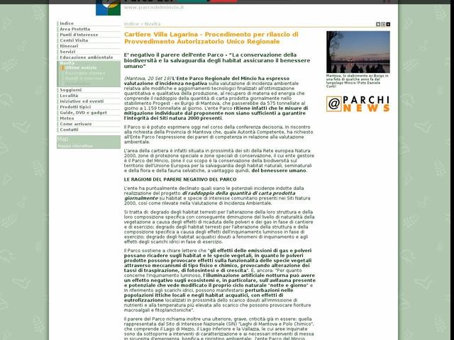 PR Mincio - Cartiere Villa Lagarina - Procedimento per rilascio di Provvedimento Autorizzatorio Unico Regionale