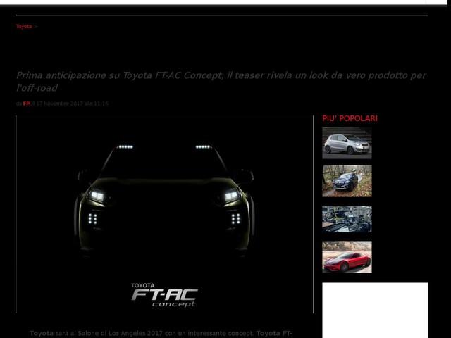 Toyota FT-AC Concept al Salone Los Angeles 2017: anteprima di pick-up?