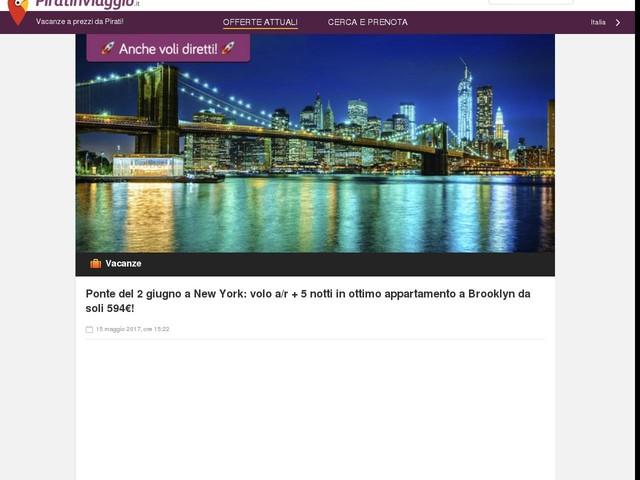 Ponte del 2 giugno a New York: volo a/r + 5 notti in ottimo appartamento a Brooklyn da soli 594€!