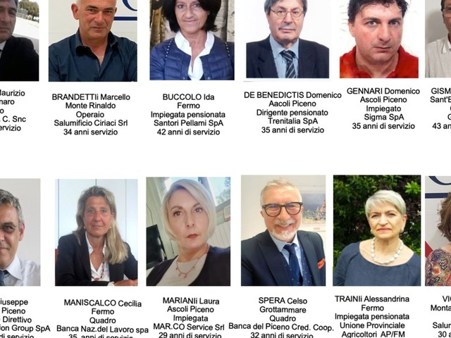 Fermo: Ecco i Nuovi Maestri del Lavoro di Ascoli Piceno e Fermo, insigniti della Stella al Merito dal Presidente della Repubblica