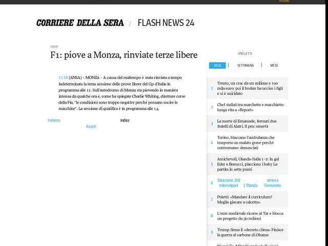 F1: piove a Monza, rinviate terze libere