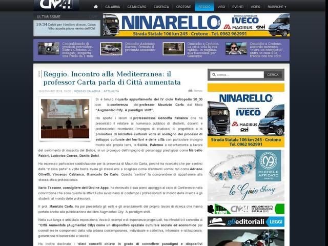Reggio. Incontro alla Mediterranea: il professor Carta parla di Città aumentata