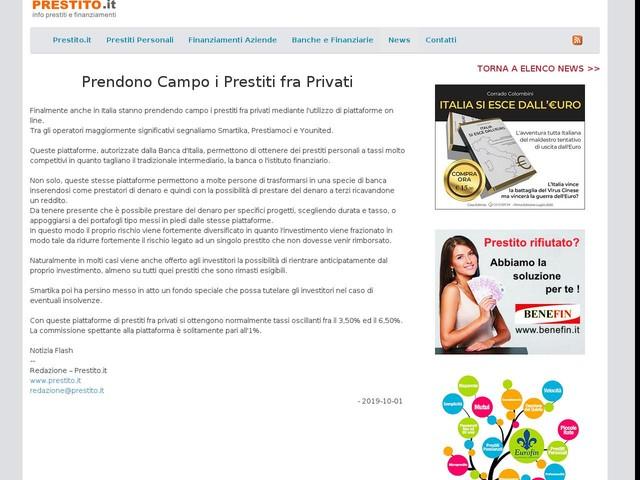 2019-10-01: Prendono Campo i Prestiti fra Privati