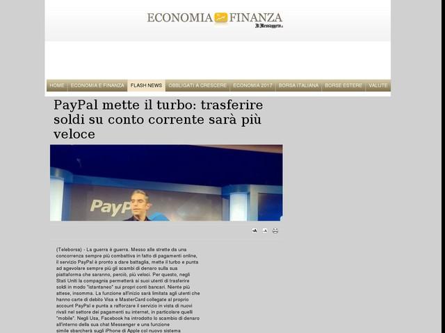 PayPal mette il turbo: trasferire soldi su conto corrente sarà più veloce