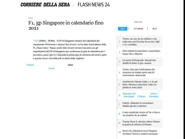 F1, gp Singapore in calendario fino 2021