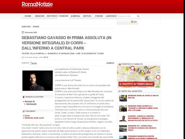 Sebastiano Gavasso in prima assoluta (in versione integrale) di CORRI – DALL'INFERNO A CENTRAL PARK