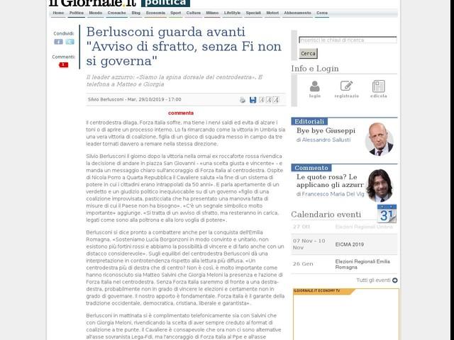"""Berlusconi guarda avanti """"Avviso di sfratto, senza Fi non si governa"""""""
