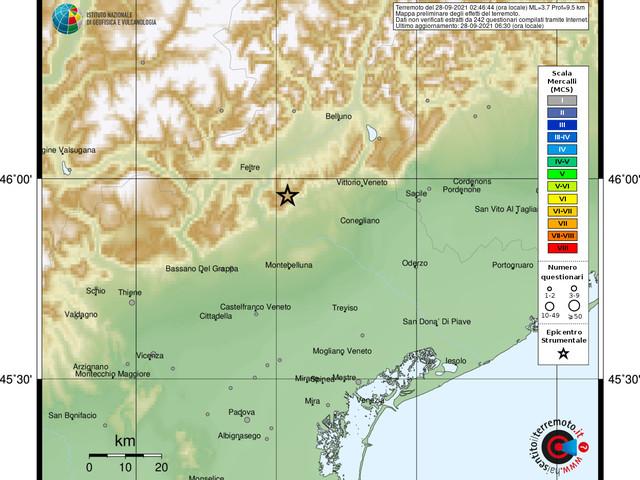Terremoto, paura nella notte in Veneto: 2 scosse avvertite nel Trevigiano, epicentro a Miane [DATI e MAPPE]