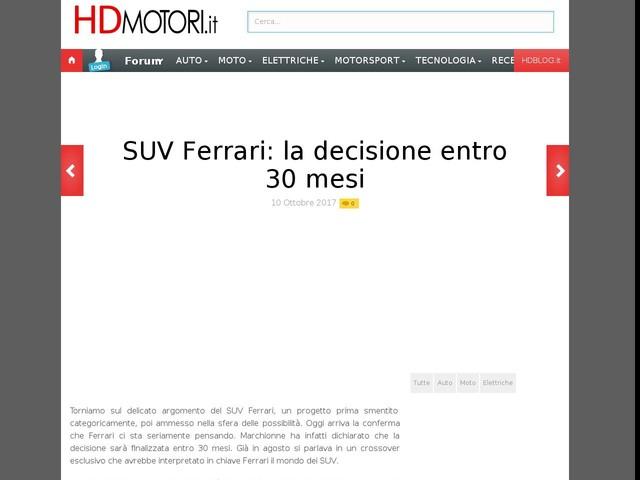 SUV Ferrari: la decisione entro 30 mesi