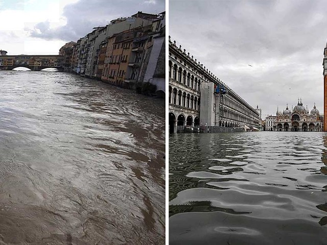 Maltempo: a Venezia picco di marea a 150 centimetri, poi scende. In Emilia e Toscana esondano fiumi. Scuole chiuse in molti comuni