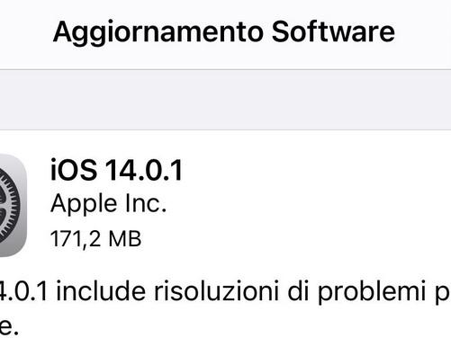 Apple rilascia iOS 14.0.1