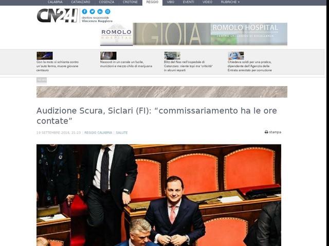 """Audizione Scura, Siclari (FI): """"commissariamento ha le ore contate"""""""