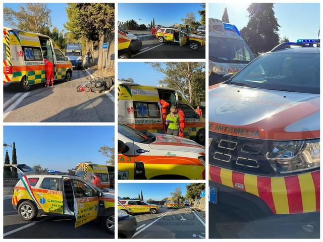 Ventimiglia: incidente sull'Aurelia all'incrocio con viale Toscanini, madre e figlio feriti e trasportati in elicottero (Foto e Video)