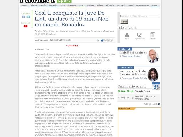 """Così ti conquisto la Juve. De Ligt, un duro di 19 anni: """"Non mi manda Ronaldo"""""""