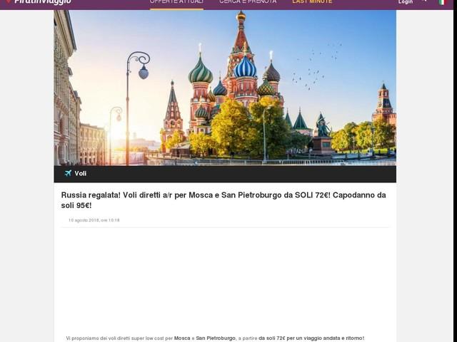 Russia regalata! Voli diretti a/r per Mosca e San Pietroburgo da SOLI 72€! Capodanno da soli 95€!